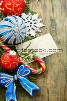 Christmas card with balls.