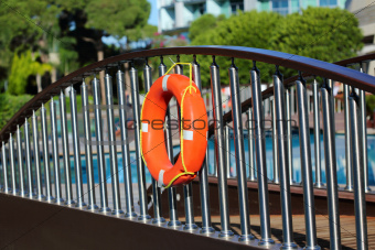 Lifebuoy on the bridge. 
