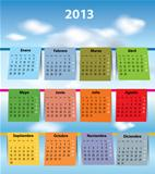Colorful Spanish calendar for 2013