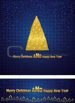 New Year and Christmas background with a gold tree