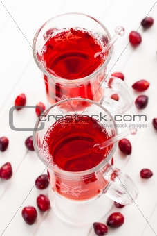 Hot drink with cranberries