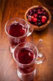 Hot mulled wine with cranberries