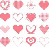 Vectorized hearts in pink