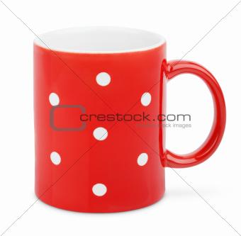 Red mug with polka dot