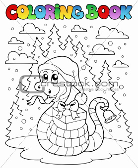 Coloring book Christmas snake 1