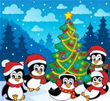 Winter theme with penguins 3