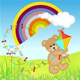 Teddy Bear with Kite Wind on Rainbow