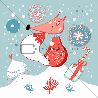 Christmas card with fox