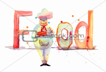 Watercolor illustration of inscription food with chef