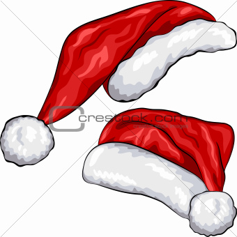 vector red Christmas hats