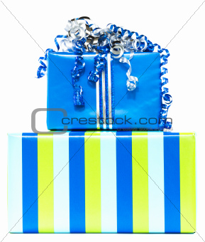 Blue and striped presents
