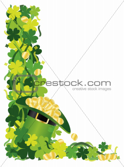 Four Leaf Clover Hat of Gold Border Illustration