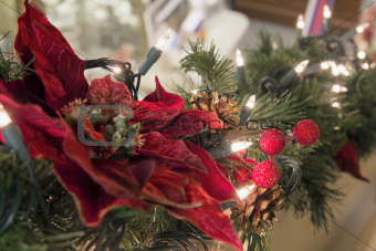 Christmas Garland with Poinsettia and Lights