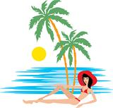 Tropical beach with palm trees and woman