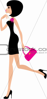 woman in a black dress on a white background.