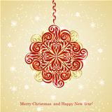 Vector Christmas Greeting Card with Fir Tree Ball