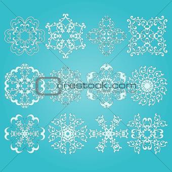 12 Vector Snowflakes