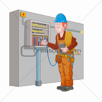 electrician measure the electrical panel