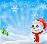 Christmas Snowman in snowy scene