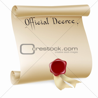 Official Decree Scroll With Red Wax Seal