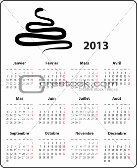 French calendar for 2013