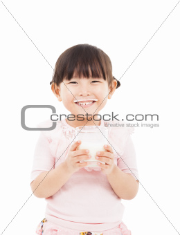 asian  little girl holding a glass of fresh milk