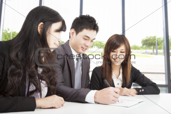 asian business team working in office