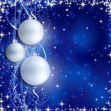Silver blue Christmas background with hanging baubles