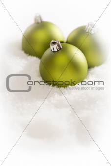 Beautiful Matt Green Christmas Ornaments on Snow Flakes Room For Your Own Text.