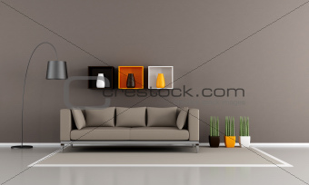 minimalist brown livingroom