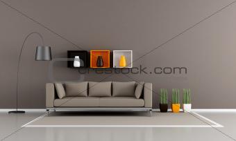 minimalist brown livingroom