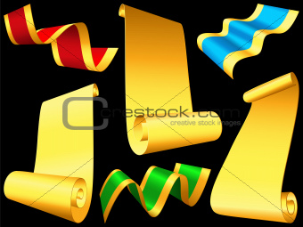 vector set shiny ribbons and paper scrolls