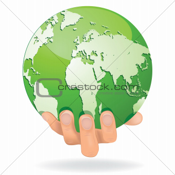 Hands Save The Earth Conceptual. vector illustration.