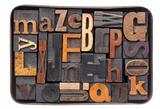 vintage wood alphabet in box