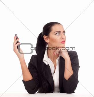 Business woman doesn't want to talk with someone
