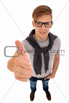 Top view of a young man going thumb up.