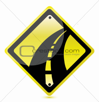 yellow highway sign