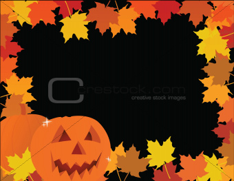 halloween pumpkin leaves frame