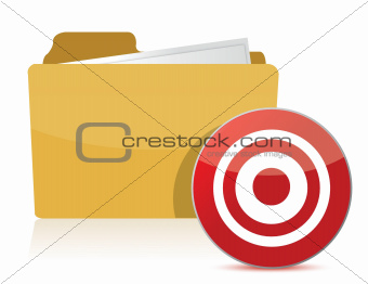folder and target sign