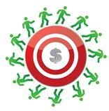 people running around a dollar target