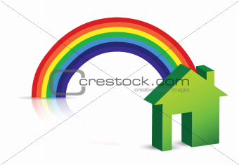 rainbow and house