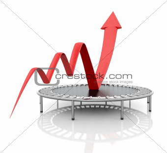 Business growth red graphic relaunched with a trampoline