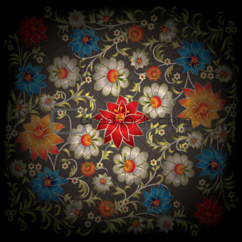 abstract grunge floral ornament with flowers on black