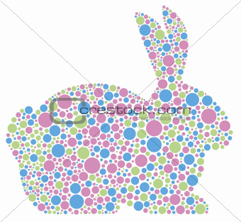 Bunny Rabbit in Pastel Polka Dots