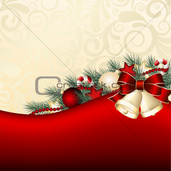 Christmas background with gold bells.