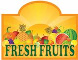 Fresh Fruits Stand Signage with Sun Illustration