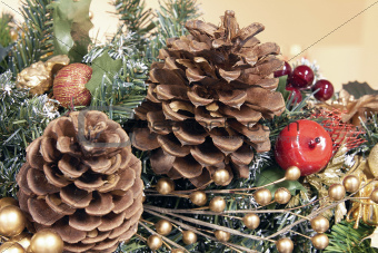 Christmas Garland Decoration with Pine Cones
