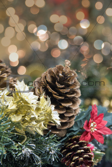 Christmas Garland Decoration with Poinsettia Portrait