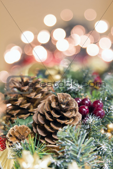 Christmas Garland Decoration with Background Lights Portrait