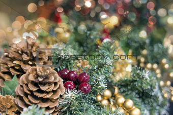 Christmas Garland Decoration with Colorful Blurred Lights